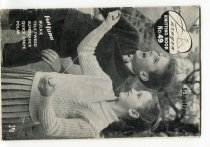 """Image of Pattern, Knitting - Small knitting pattern booklet published by """"Paragon Alliance Ltd Dunedin, Timaru, Wellington and Auckland """" on back cover. Front cover has black and white photograph of boy and girl wearing matching knitted jerseys and flying a kite (kite not visible - just the string). Also on cover is """"Paragon Knitting book No 9 Schoolage Fontana Bulkie, Tele-tweed, Superquick, Quick crepe, Polar 1/6"""".  Inside are 5 different patterns for children.  Inside back cover has advertisement for other patterns and across the bottom """"Distributed by Paragon Alliance Ltd, Bank Street, Timaru""""."""