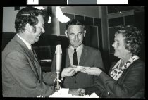 Image of [Gordon Wykes, Frank Howe, and Mayor Helen McIver] -