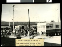 Image of Safari Caravans at Twizel - the broadcasting set-up in the market place - 1979 -