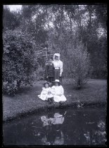 Image of [Sydney and girls beside the perch pond, Clayton Station] - Clayton Station Collection