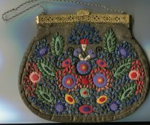 Image of Bag - Multi -coloured evening bag embroidered and appliqued with felt floral shapes. Bag is rounded in shape and is made from a metallic gold fabric. There is a gusset running around sides and bottom.