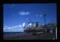 A Blue Star Line ship berthed at the meat loader o...