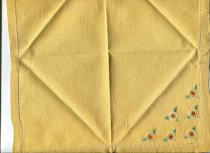 Image of Napkin - Mustard yellow linen embroidered table napkin.