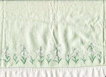 Image of Towel, Hand - Pale green embroidered huckerbuck cotton hand towel.