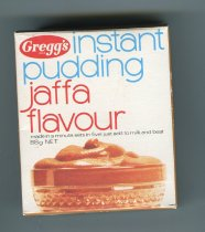 "Image of Box, Food - Small white box with ""Gregg's Instant Pudding Jaffa Flavour 88 gm"" on the front. Has directions on the back. Unopened so box still has original contents inside."