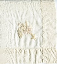 Image of Handkerchief - Large square silk man's handkerchief. In one corner a spray of flowers is hand embroidered in cream satin thread. Handkerchief is machine hemstitched.