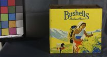 "Image of Tin, Food - Large rectangular yellow tin for ""Bushells Tea"". Unpainted top has circular hole with lid. Sides are yellow with various images of people mostly women picking tea. The two longer sides have ""Bushells the tea of flavor."" one of the shorter sides has ""Young tender leaves picked fresh and cured slowly, gives Bushells tea that enticing flavor"" and the other side has ""slow careful curing imprisons the fragrant sap juice within the young tender leaves of Bushells tea""."