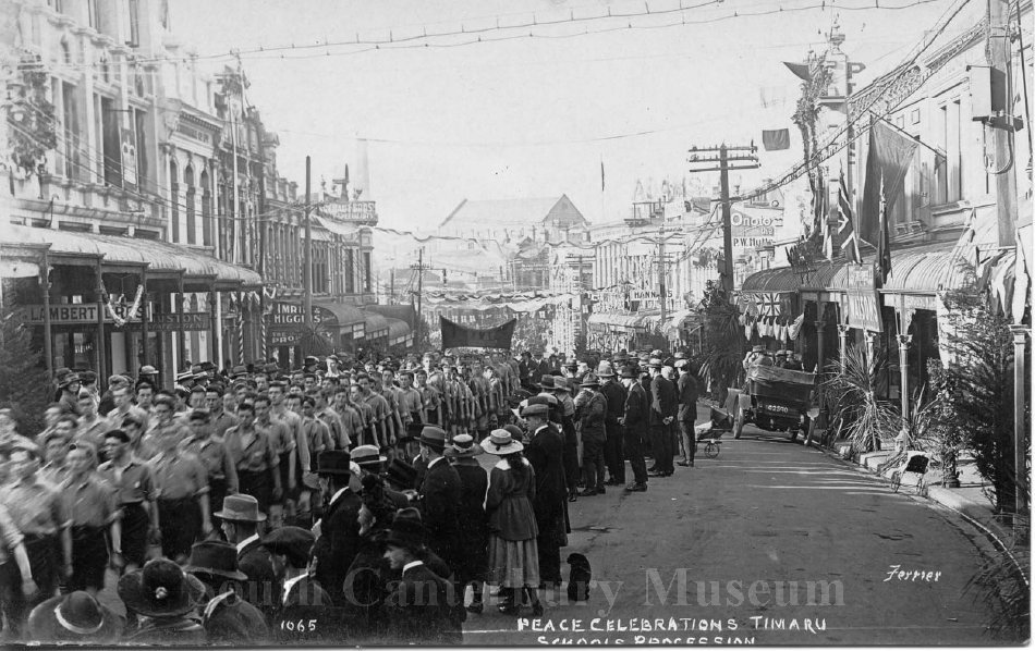 Peace celebrations Timaru. Schools Procession [1065 Ferrier] - South Canterbury Museum