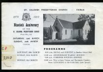 Image of St Columba Presbyterian Church - Fairlie : 1879-1969 ninethieth anniversary -