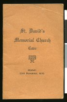 Image of St David's Memorial Church, Cave : opened 22nd November, 1930 -