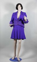 Image of Suit - Woman's two piece purple wool suit  of jacket and skirt handcrafted by Doris O'Brien