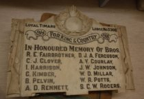 "Image of Plaque, Memorial - Large and heavy marble plaque to commemorate the deaths of lodge members during World War One. Has rifle in relief on each side and lodge symbol of hand etc at the triangular shaped top. Engraved across the top in black is ""Loyal Timaru Lodge No 5308"". Below that is ""For King and Country 1914 - 1918"" inside a banner and then ""In honoured memory of Bros R E Fairbrother, D J A Ferguson, C J Glover, A V Gourtlay, I Harrison, J W Johnson, C Kimber, W D Millar, B Pelvin, W R Potts, A D Rennett, S C W Rogers"""