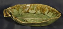 Image of Plate - Leaf shaped and patterned dish made by Molle Gudsell. 