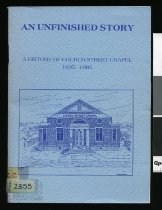 Image of An unfinished story : a history of Church Street Chapel, 1935-1985  - Pike, Alistair J