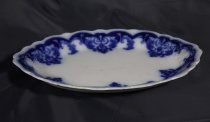 Image of Plate, Serving - Ornate oval serving plate with blue underglaze pattern?