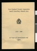Image of New Zealand Nurses' Association South Canterbury Branch : 1929-1989, 60 years of commitment and effort - Knowler, Annette (ed.)