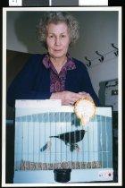 Image of Bernice Ackroyd, bird fancier. - Timaru Herald Photographs, Personalities Collection