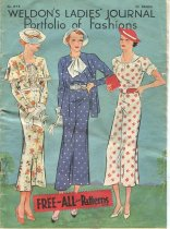 "Image of Pattern, Sewing - Pattern magazine called ""Weldon Ladies Journal portfolio of fashions"". Has green cover with drawing of three women in clothes from mid 1930s. Inside are sketches of fashions that can be ordered as patterns. Published in England by ""the Sun Engraving Co"". 
