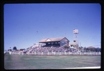 The grandstand at Timaru Racecourse, March 1962.Be...