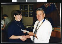 Image of Neil Anderson, Mayor of Fairlie and unidentified woman - Timaru Herald Photographs, Personalities Collection