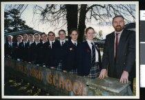 Image of Vincent Arnull and Timaru Girls' High School Duke of Edinburgh Award recipients - Timaru Herald Photographs, Personalities Collection