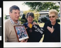 Image of Kathy Beatson with Ian and Barbara Henry - Timaru Herald Photographs, Personalities Collection