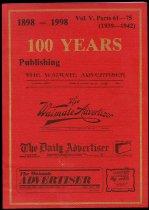 Image of 100 years publishing the Waimate advertiser : 1898-1998 - Waimate Advertiser