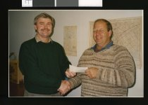 Image of Reg Brockett and Les Maxwell - Timaru Herald Photographs, Personalities Collection
