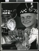 Image of Tracey Brown with Hastings Highland Games dancing award - Portarait Timaru Herald Photographs, Personalities Collection