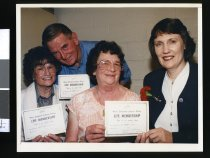 Image of Helen Clark with Ngaire Hanifin, Jack and Pam Cornelius - Timaru Herald Photographs, Personalities Collection