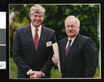 Image of Kevin Cosgrove (left) and Roger Douglas  - Timaru Herald Photographs, Personalities Collection