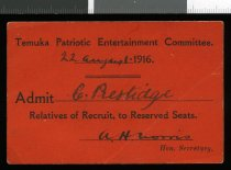 Image of Temuka Patriotic Entertainment Committee admission ticket -