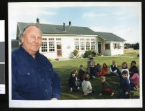 Image of Principal Bob Dann and Hook School students - Timaru Herald Photographs, Personalities Collection