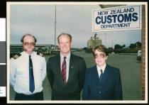 Image of Customs Staff Harvey Donovan, Ian Fawcett & Colleen Shanks - Timaru Herald Photographs, Personalities Collection