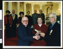 Image of Maurice Eathorne being awarded a Benemerenti (Papal) Medal - Timaru Herald Photographs, Personalities Collection