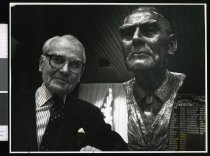 Image of Lord Samuel Charles Elworthy with his bust sculpture - Timaru Herald Photographs, Personalities Collection