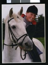 """Image of Esquestrian rider Nina Evans on """"Quinn"""" - Timaru Herald Photographs, Personalities Collection"""