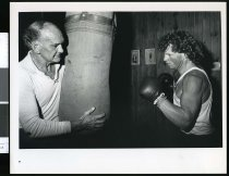 Image of Boxer Greg Godkin with coach John Morrison - Timaru Herald Photographs, Personalities Collection