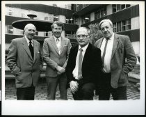 Image of Russell Hervey, Michael Mayman, Zbigniew Poplawski, and Bill Greenslade - Timaru Herald Photographs, Personalities Collection