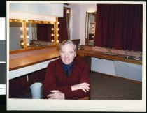 Image of Ross Grubb in the Theatre Royal's refurbished dressing room - Timaru Herald Photographs, Personalities Collection