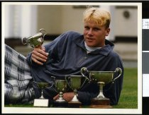 Image of Thor Hartstonge and trophies - Timaru Herald Photographs, Personalities Collection