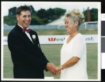 Image of Colin Hawke with his bride Glenys (nee Lawrence?) - Timaru Herald Photographs, Personalities Collection