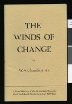 Image of The winds of change : a short history of the Methodist Church in North and South Canterbury from 1950-1975 - Chambers, W. A. (Wesley A.)