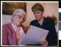 Image of Jan Hide, spokesperson for older persons care services, and Meg Hutton - Timaru Herald Photographs, Personalities Collection