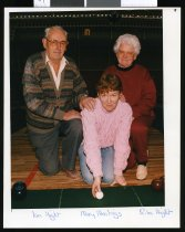 Image of Bowlers Ian Hight, Mary Mealings, and Rita Hight - Timaru Herald Photographs, Personalities Collection