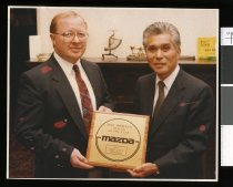 Image of Bruce Ireland and Katsu Hayashi, Mazda dealers - Timaru Herald Photographs, Personalities Collection