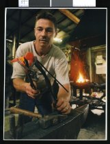 Image of Gareth James, blacksmith - Timaru Herald Photographs, Personalities Collection