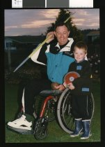 Image of Trevor James and grandson Jesse - Timaru Herald Photographs, Personalities Collection
