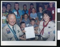 Image of Scout leader Karalyn Joyce and Commissioner Pat Dollan - Timaru Herald Photographs, Personalities Collection