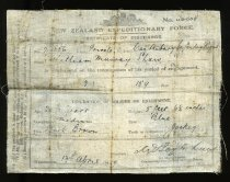 Image of William Murray Shaw's discharge certificate, World War One -